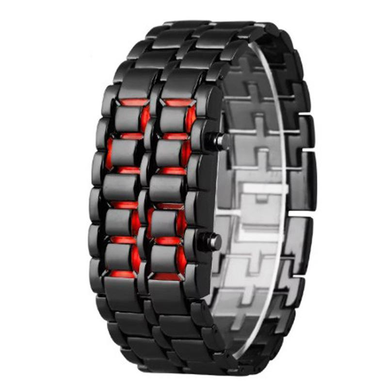 Men Led Digital Watches Lava Iron Samurai Watches Men Black Stainless Steel LED Electronic Watch Sports reloj hombre