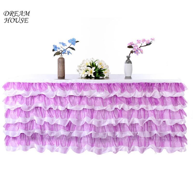 c24bfa6d3 Falda de mesa de tul Baby Shower Cumpleaños Banquete Mantel Mesa de boda  Bordeando Decoración Suministros para fiestas 275x80 cm