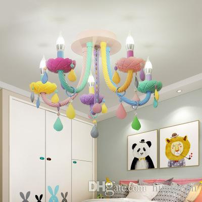 Moderne LED K9 Lustre En Cristal Lumière Coloré Enfant Enfants Chambre  Lustre Éclairage Droplight Home Fixture E14 Bougeoir
