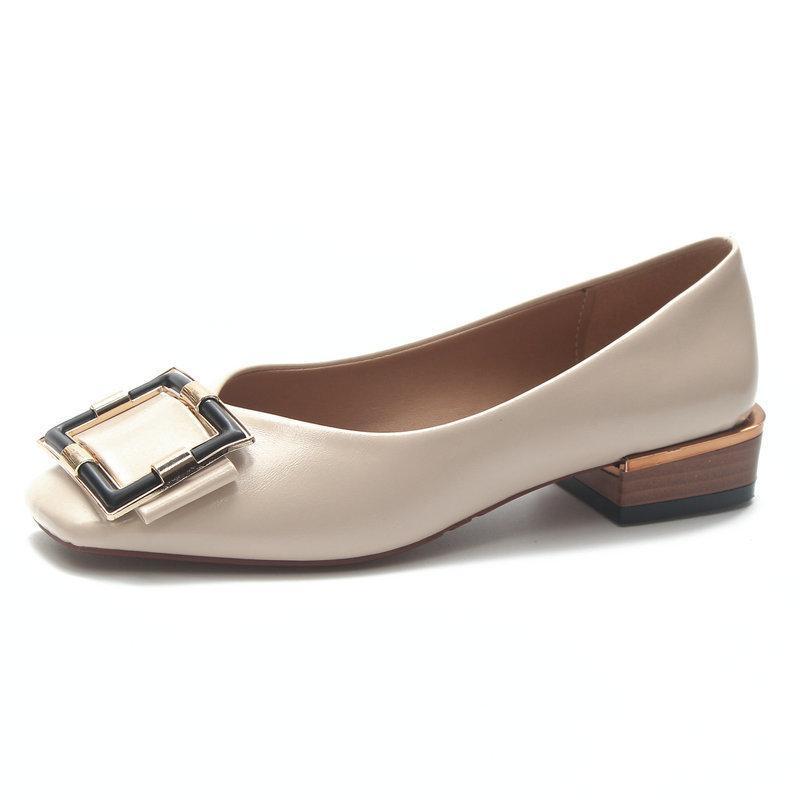 0ad9285c2c93 Классические туфли женские искусственные кожаные квадратные пряжки  украшения ...