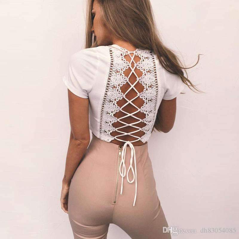 1ab0ae1713b Back Sexy Women Lace Up T Shirt Crisscross Fashion Summer Deep V Collar  Short Sleeve Crop Top Hollow Out White Female Tops Tees T Shirt Sites  Quirky T ...