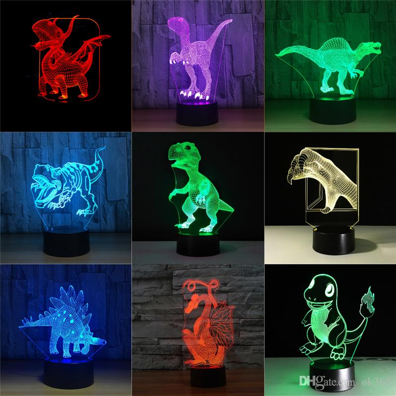 Jurassic Dinosaur 3D LED Night Lights 7 Colors Remote Touch Switch Desk Table Lamp Baby Sleeping Light For Boy Kids Gift