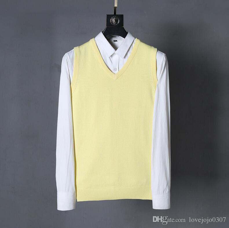 c00a222e10b Compre Polo Chaleco Suéter Para Hombre Vestido De Punto Suéter De Lujo  Bordado De Caballos Camisa Para Hombre Con Cuello En V Chaleco Suéteres  Masculinos ...