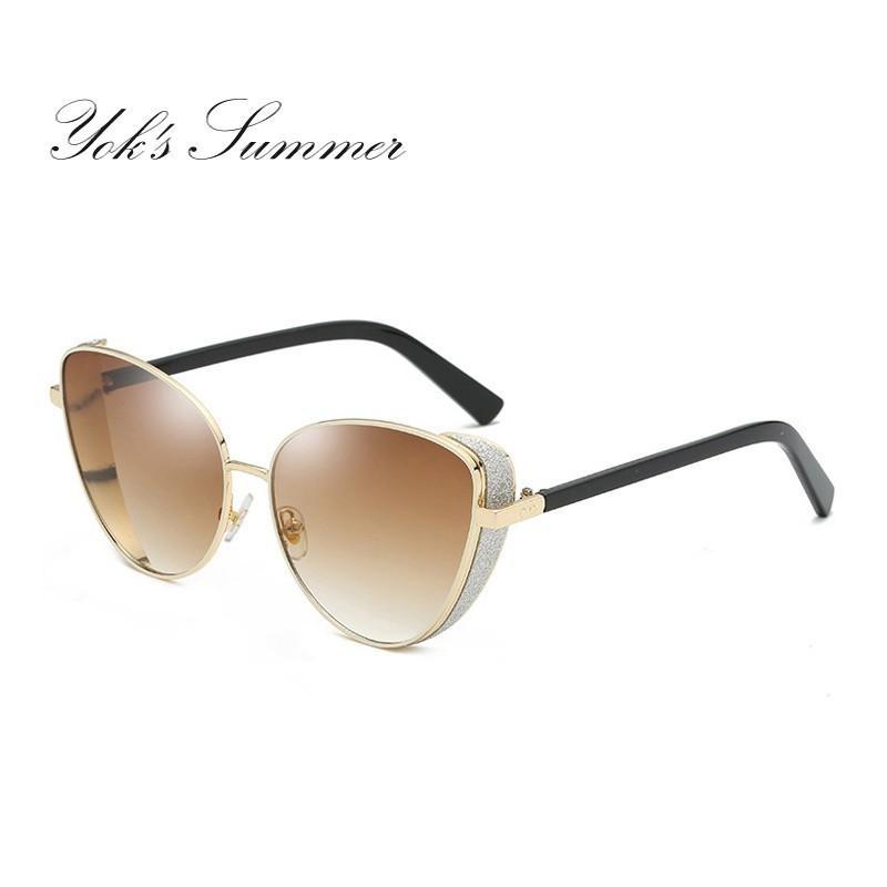 215c8b8732 Compre Yok's Luxury Cat Eye Gafas De Sol Polarizadas Steam Punk Hippie  Sombra Gafas De Sol Mujeres De La Marca De Lujo Metal Glitter Frame Goggles  Oculos ...