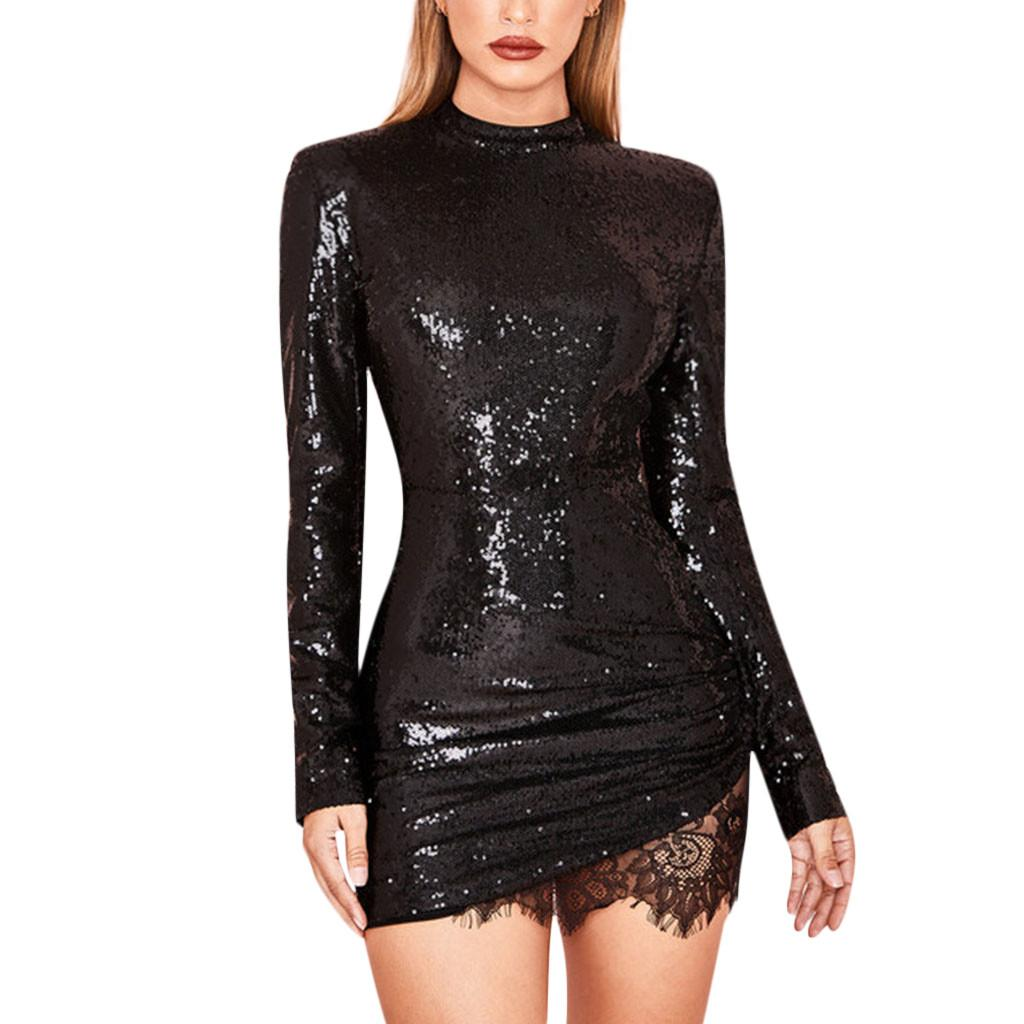 b7b9d5d04b7 Sequin Dress Women Summer Spring Party Dress Vintage Fashion Solid Lace  Patchwork Sparkle Glitzy Glam Long Sleeve Flapper Robe Dress Purchase Sun  Dresses ...