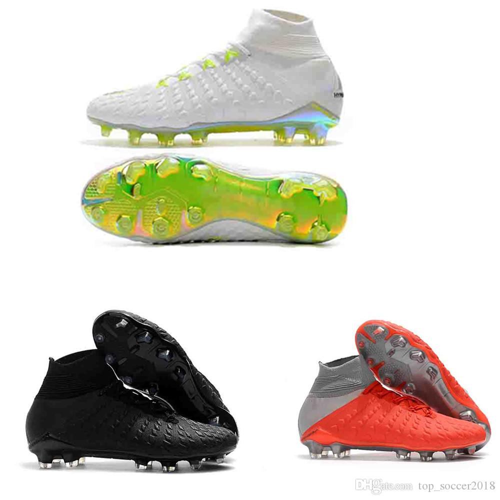 33b6be93a4cb 2019 Grey White Original Flat Soccer Cleats Hypervenom Phantom III DF FG  Football Boots Zoom Neymar JR AAA Quality Mens Outdoor Soccer Shoes From ...