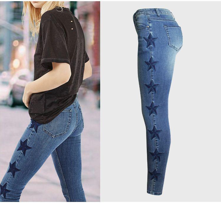 Chaussures 2018 amazon qualité supérieure Jeans de taille moyenne mode femme jeans côté Side jeans skinny étoile à  cinq branches femme bleu pantalon femme