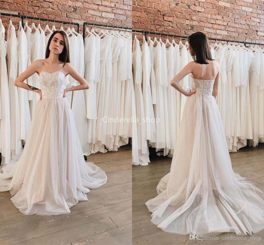 186e04738b12 Chic Sweetheart 2019 Wedding Dresses Lace Appliques Tulle Boho Mariage Gowns  Cheap Plus Size Sweep Train Robes De Mariée Pink Wedding Dresses Plus Size  Ball ...