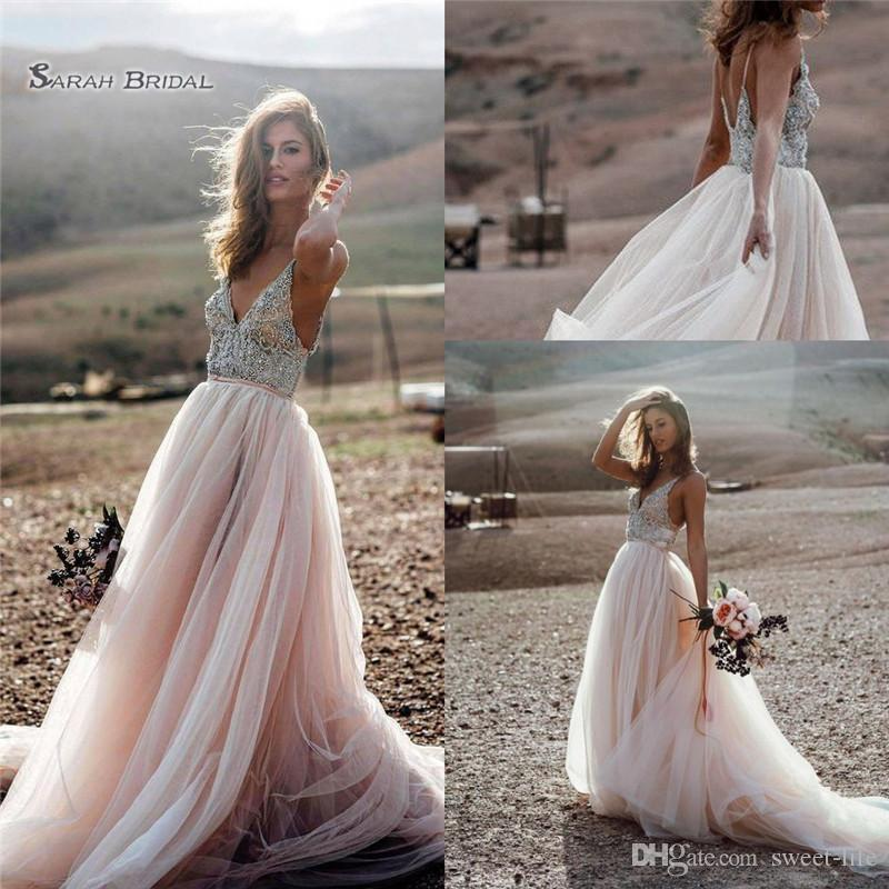 b8039e96c0b1 2019 Chic Bohemia Beach A Line Party Gown Wedding Dresses Backless Crystals  Country Bridal Gowns Boho Vestido De Novia From Sweet Life, $155.78 |  DHgate.Com