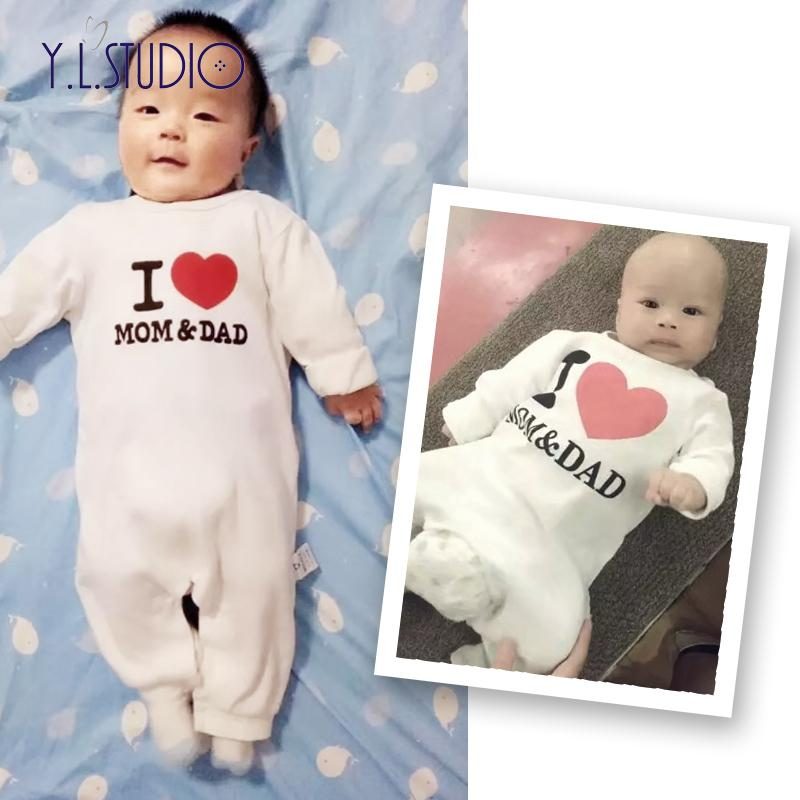 7d6da03847bbb New Born Baby Romper Clothes Winter Overalls I Love Mom And Dad Full  Sleeves Autumn Costume Little Girls Boy Onesie Roupa Menina J190524