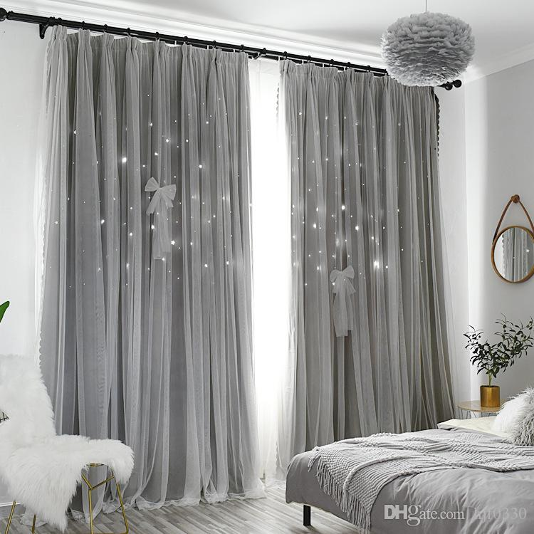 Modern Stars Window Curtains for Living Room Bedroom Kids Room Pink Blue  Grey Voile Tulle Curtain Double Layer Door Curtains Sheer Curtains