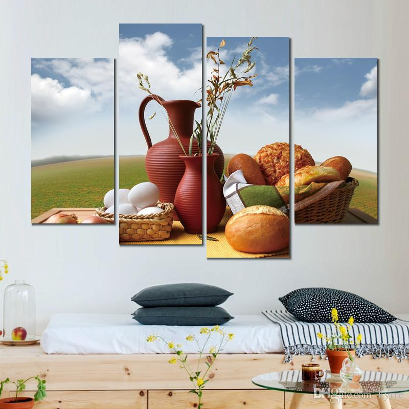 bread milk eggs dinner canvas print arts pictures for dining room decor