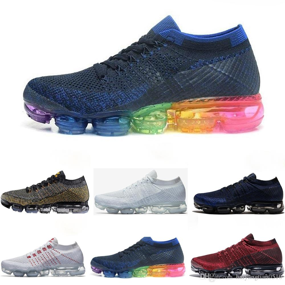 buy popular 17034 c4012 nike Air Vapormax Flyknit 1.0 Alta calidad 2019 New Air Cushion Sports  Shoes For Men 1.0 Fly Sneakers Women Negro Blanco Azul 2018 Jogging  Athletic ...