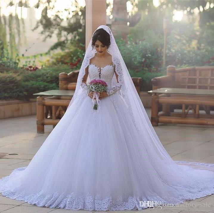 Elegant Princess Ball Gown Wedding Dresses Sheer Illusion Neck Long Sleeves Chapel Train Lace Wedding Bride Dresses Robe de mariee