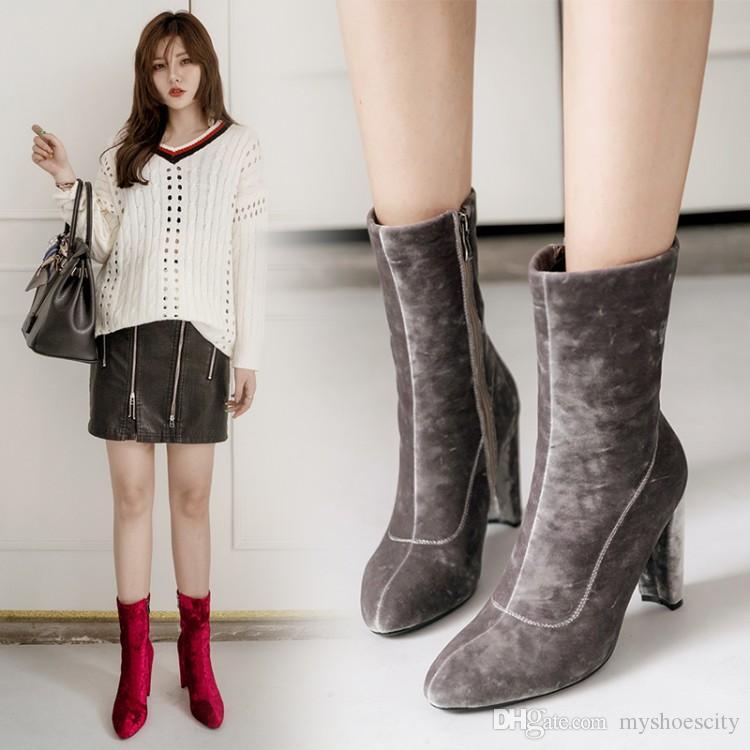 tamaño grande de 33 a 44 45 46 botas vestido del alto talón botines de terciopelo burdeos señalaron botas de diseño talón grueso