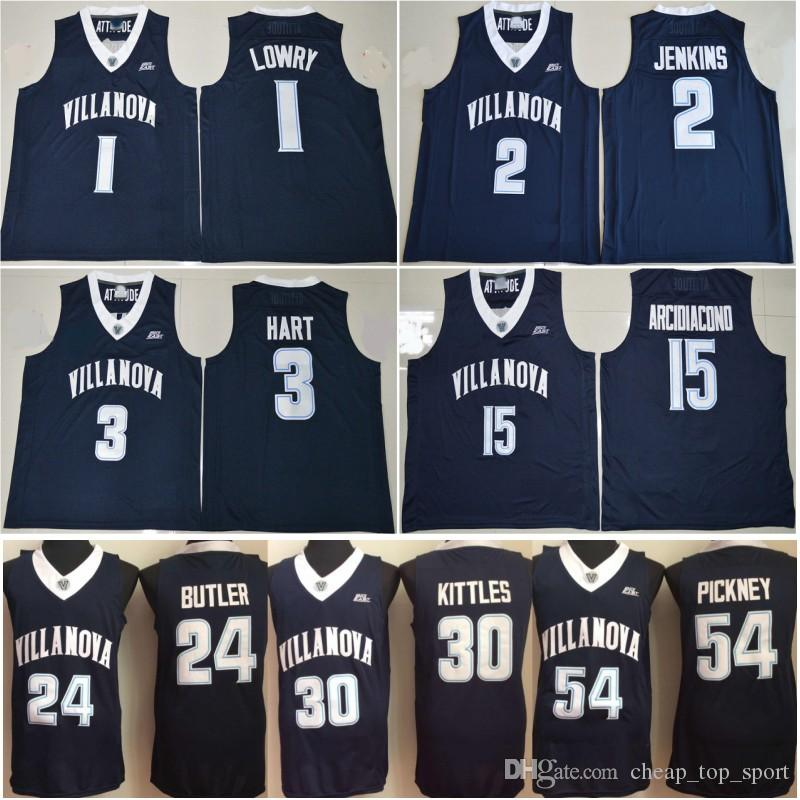 low priced 4ba4a b0fc8 Villanova Wildcats Jersey College Basketball 1 Kyle Lowry 2 Kris Jenkins 3  Josh Hart 15 Ryan Arcidiacono 30 Kerry Kittles 24 Butler Bulldogs