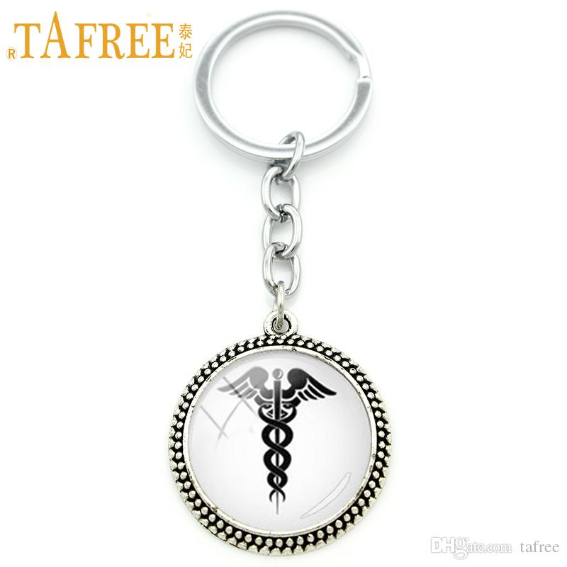 TAFREE Medical Caduceus Symbol Keychain Vintage Classic Pendant Key Chain Key Ring Men Women Doctor Car Key Holder Jewelry KC324
