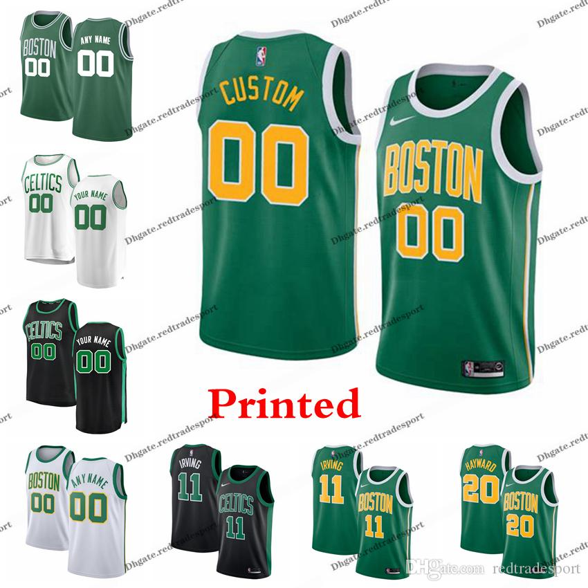 competitive price 331f5 861c3 Printed Boston City Celtic Jayson Tatum Marcus Smart Al Horford Rozier  Morris Hayward Kyrie Irving Jaylen Brown Edition Basketball Jersey