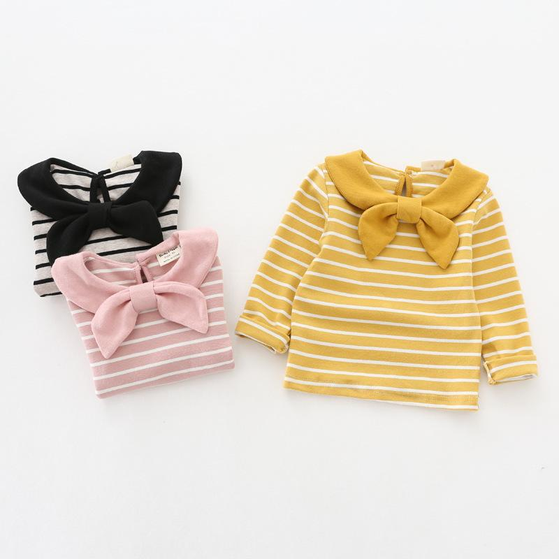 Navy Style Long Sleeve Baby Girl T Shirts Pink Yellow Colors Striped T-shirt with Bow Tie Spring Autumn Cotton Baby Girl Clothes