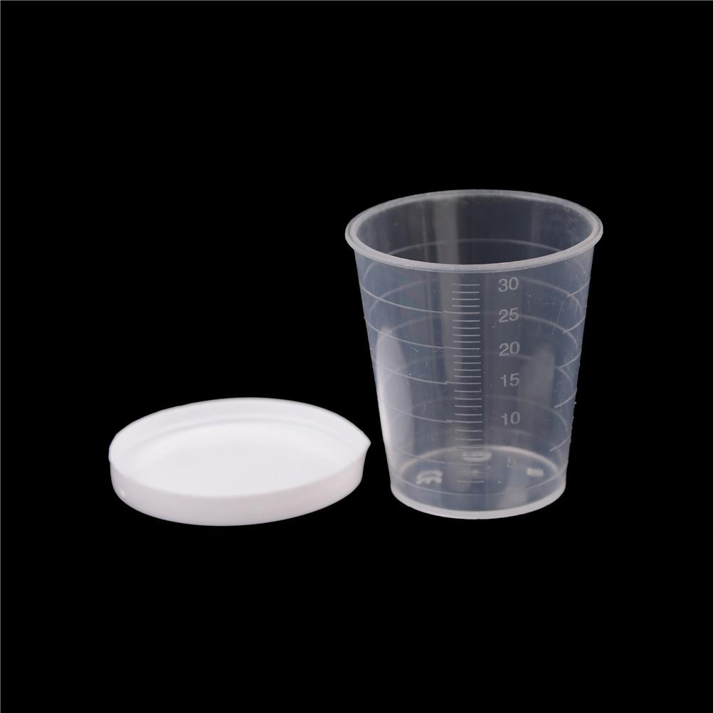 200pcs 30ml Clear PP Liquid Measuring Cups Plastic Graduaeted Laboratory Test Cylinder White Lid Indexing Clear Container Tub