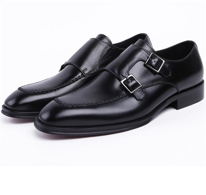 f2943d0b75 Compre CLORISRUO Double Monk Strap Social Shoes Marrón Bronceado   Negro  Para Hombre Zapatos De Vestir De Cuero Genuino Para Hombre De Negocios Boda  Novio ...