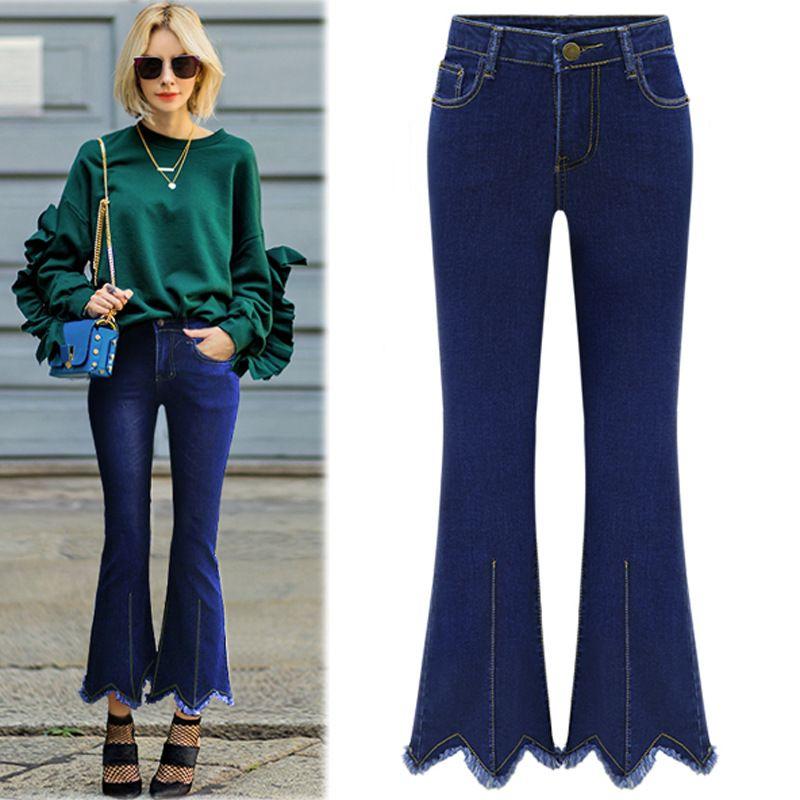 Acheter 2019 Pantalon En Jean Femmes Taille Haute Élastique Pantalon Mode  Maigre Stretch Jeans Femme Printemps Denim Évasé Jeans Vintage Slim De  $53.11 Du