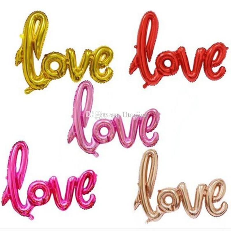 Ballons Gonflables De Fête D Anniversaire Anglais Lettre Amour Ballon En Aluminium Pour La Saint Valentin Décorations De Fête De Mariage Air