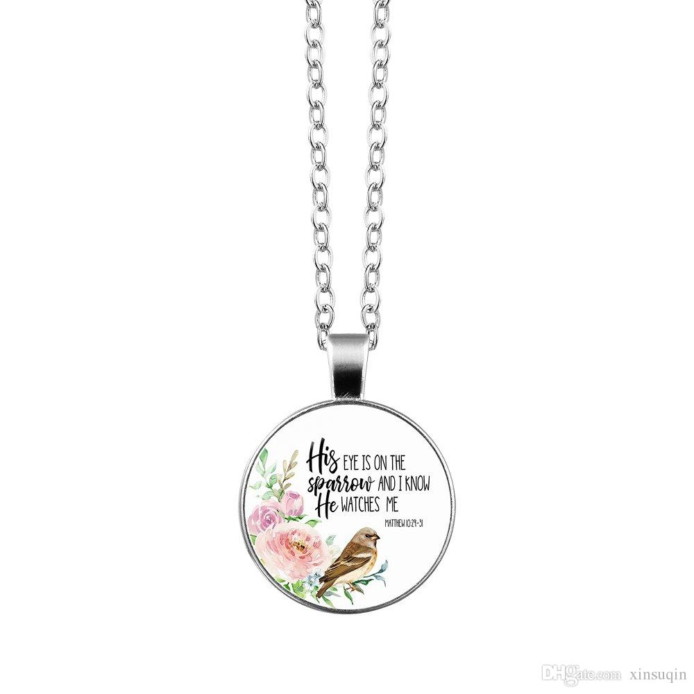 Vogue Silver Christian Bible Verse Necklace Charms Bible Psalm Glass Flower Picture Pendant Women Celebrity Quotes Jewelry