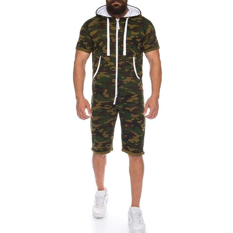SHUJIN Casual Camo Tracksuit Jumpsuit Mens Overalls Summer Short Sleeve Hoodies Sweatshirt Sportwear Short Pants Zipper Romper