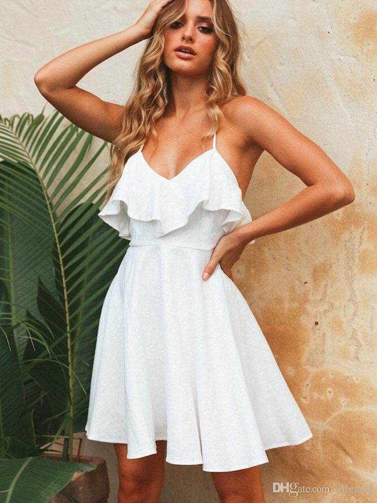 f30d58089d New 2019 Boho Women Long Dress Backless Halter V Neck Maxi Beach Bohemia  Dresses Sundress White Tee Neck Sleeveless Dress Party Dress Sequin Dresses  From ...