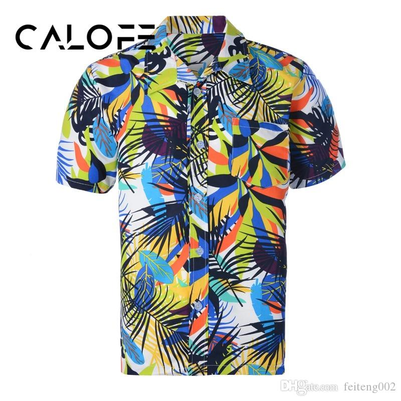 3cce3f455d 2019 CALOFE Beach Hawaiian Shirt Mens Summer Style Palm Tree Print Camisa  Masculina Male Floral Printed Short Sleeve Shirts Plus Size #424905 From ...