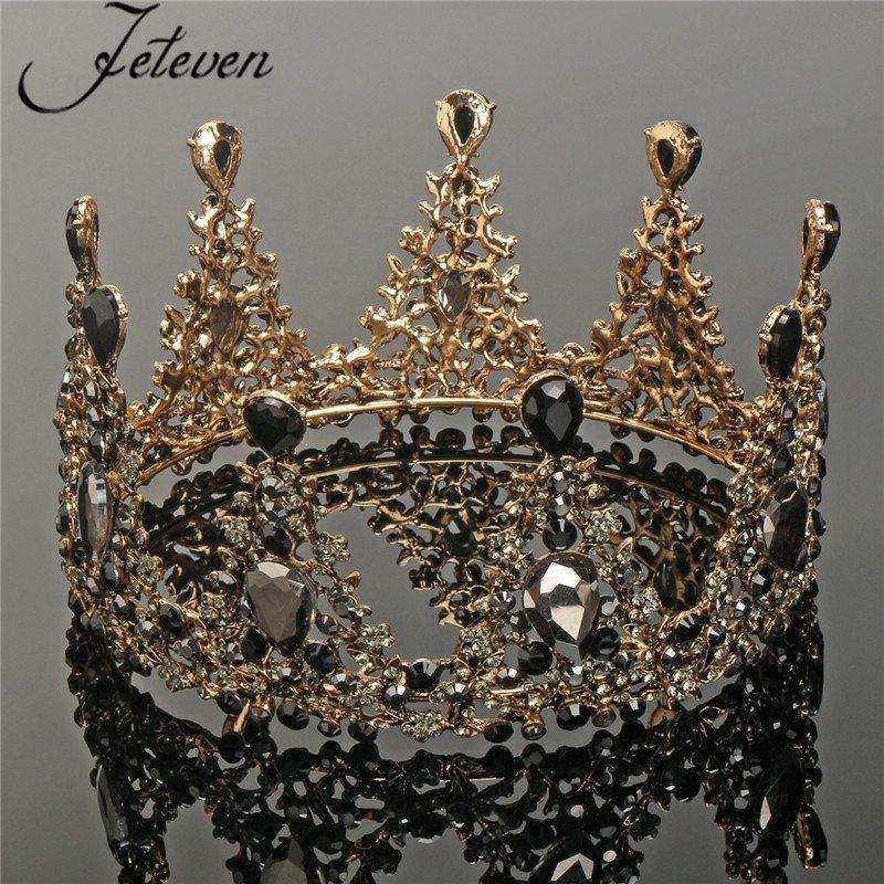 2019 Vintage Baroque Round Tiara Black Rhinestone Crystal Beads Bridal Crown  Royal Queen Headband Diadem Pageant Wedding Hair Jewelry C18112001 From ... 552c0a82391d