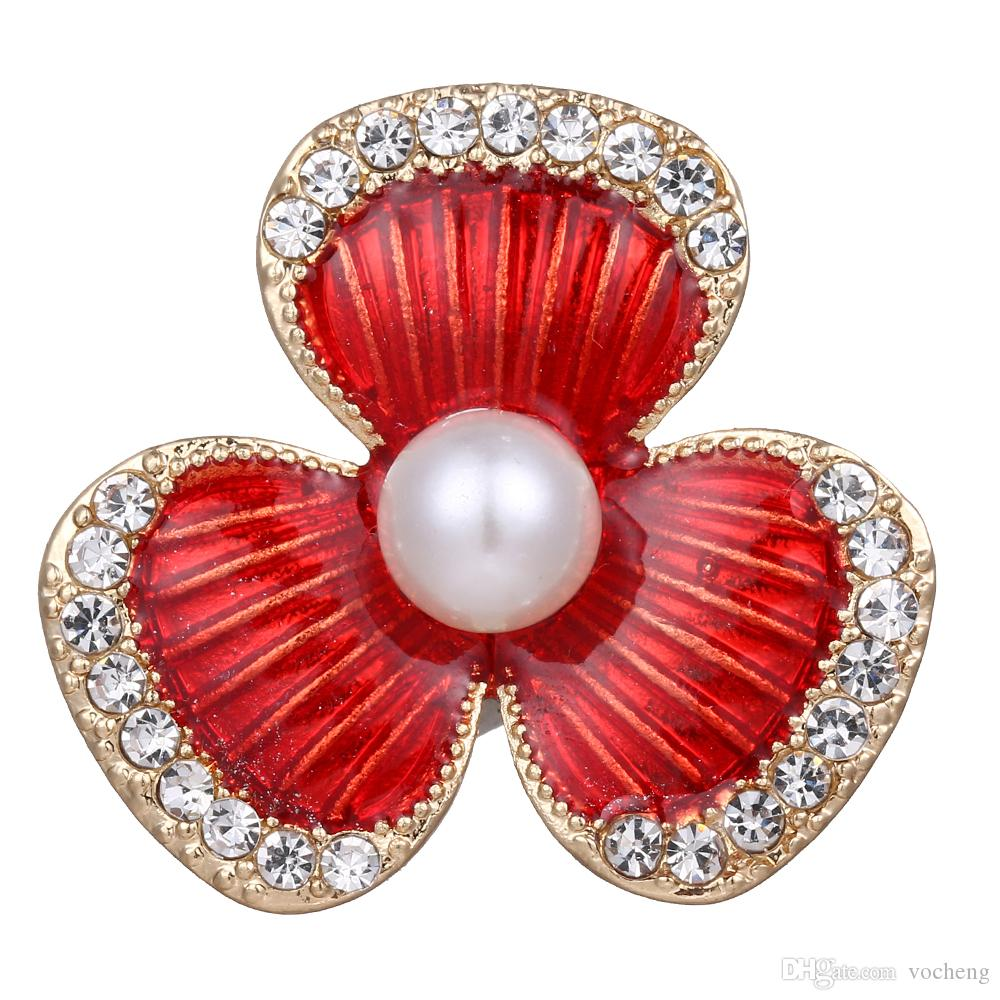 Snap Charms vocheng 18 mm Crystal Pearl Snap Boutons Bijoux Vn-010