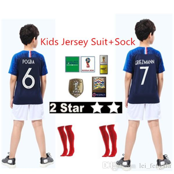 2019 French Soccer Jersey Kids Football Kits 2018 19 Football Kids 2 ... 250f54dc7