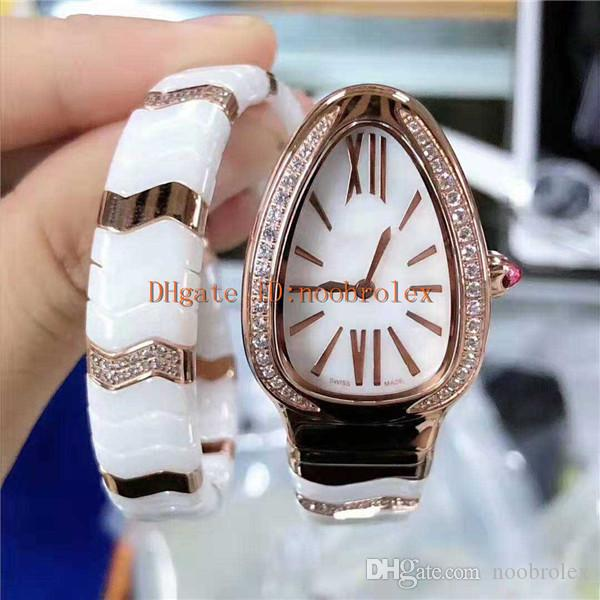 2019 mode femme montre Serpenti dame montres Mouvement à quartz suisse blanc bracelet en céramique or rose lunette sertie de diamants saphir