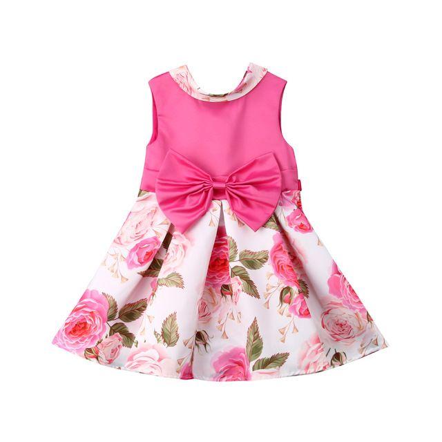 c204347cb049 2019 Kids Baby Flower Girls Dress Wedding Dresses Princess Bowknot Rose  Sleeveless Birthday Party Tutu Casual Dress From Show_times, $16.49 |  DHgate.Com