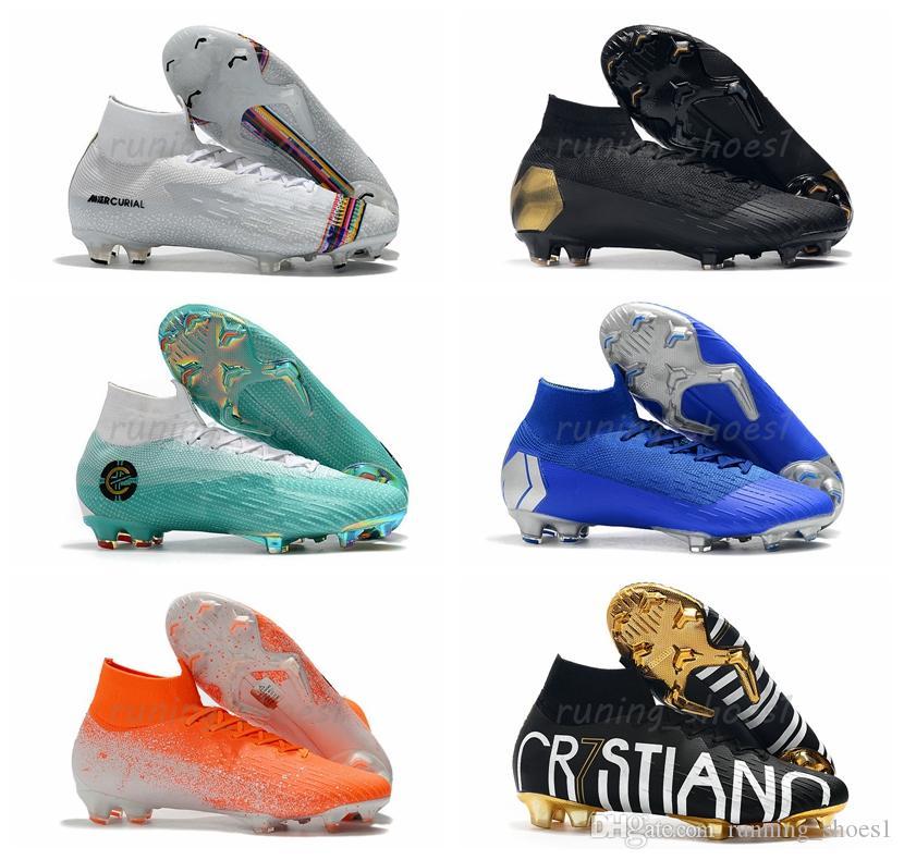 promo code df3be 8c425 Mercurial Superfly VI CR7 Ronaldo Neymar Mens Women 360 Elite FG KJ 6 XII  12 High Soccer Shoes Football Boots Cleats
