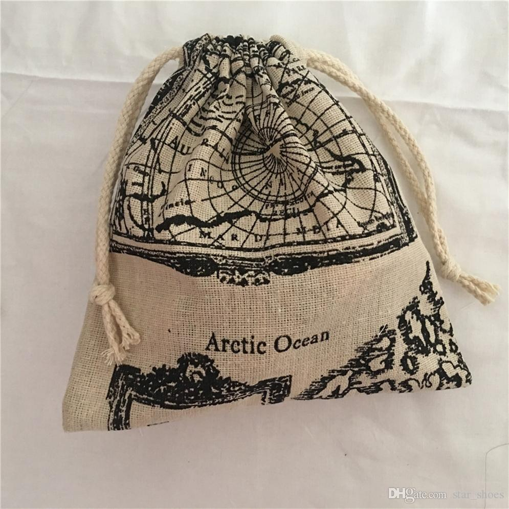 YILE 1pc Map of the World Cotton Drawstring Bag Multi-purpose Organizer Pouch Party Gift Bag 190111b #534209