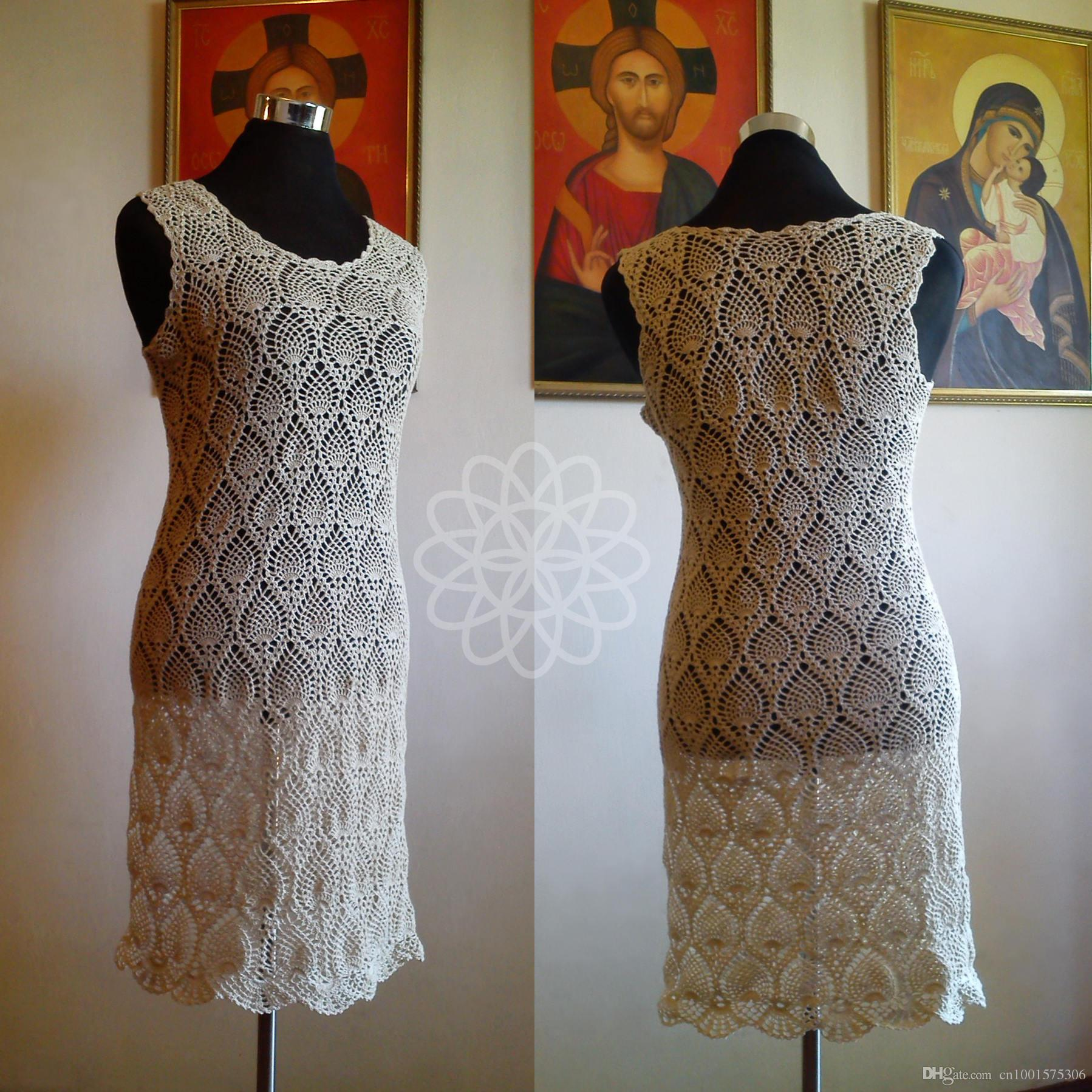 14e785153 Vestido de crochet beige tejido a mano, sin mangas, piñas de punto. Vestido  de proyecto sexy vestidos de novia de playa de algodón