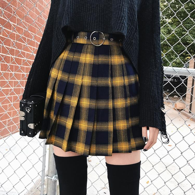 Spring Summer Harajuku Women Fashion Skirts Cute Yellow Black Red Lattice Pleated Skirt Punk Style High Waist Female Short Skirt
