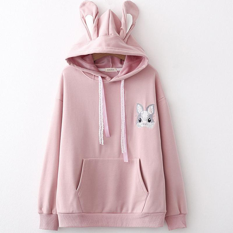2019 Autumn Winter New Japanese Women Cute Cartoon Rabbit Hooded Hoodies  With Ears Lady Embroidered Velvet Sweatshirts From Balsamor 72c89c6720