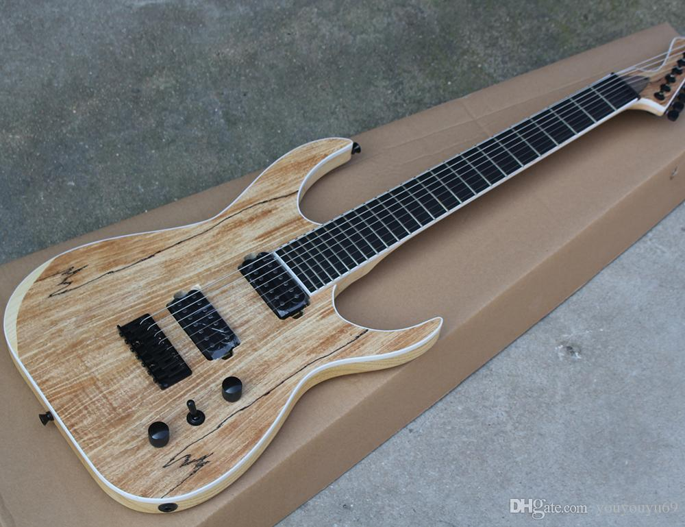 7-string ASH guitar and HH pickup, ebony fingerboard without cover, black hardware, customized service