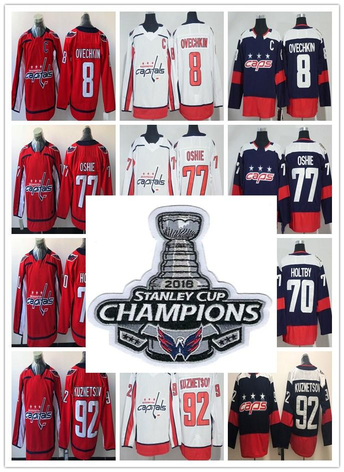 best wholesaler ea2f7 d3bd5 Washington Capitals 2018 Stanley Cup Champions Patch Jerseys Caps 8 Alex  Ovechkin 77 TJ Oshie 92 Evgeny Kuznetsov 70 Braden Holtby