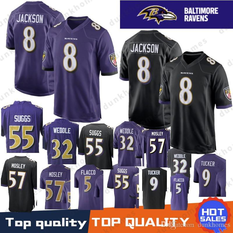2019 8 Lamar Jackson Baltimore Ravens Jerseys 81 Hayden Hurst 5 Joe Flacco  32 Eric Weddle 9 Justin Tucker Perriman 55 Suggs 57 C.J. Mosley Flacco From  ... bd89c3e31f207