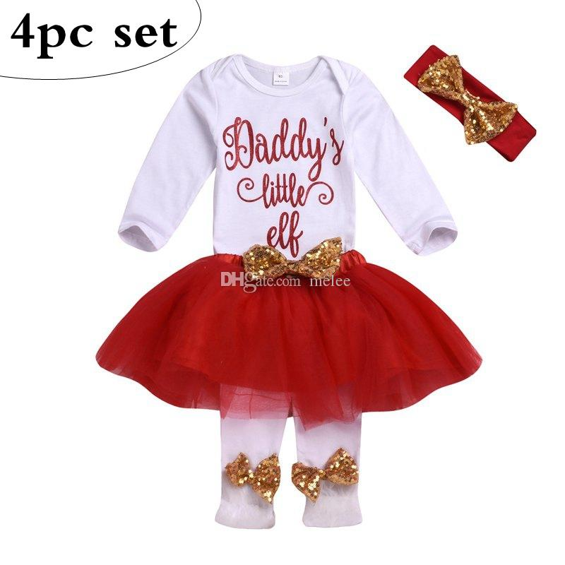 """Daddy's Little Elf"" letter print newborn baby girl clothes baby girl outfit baby white bodysuit bodysuits & tutu red skirts & Bow headband"
