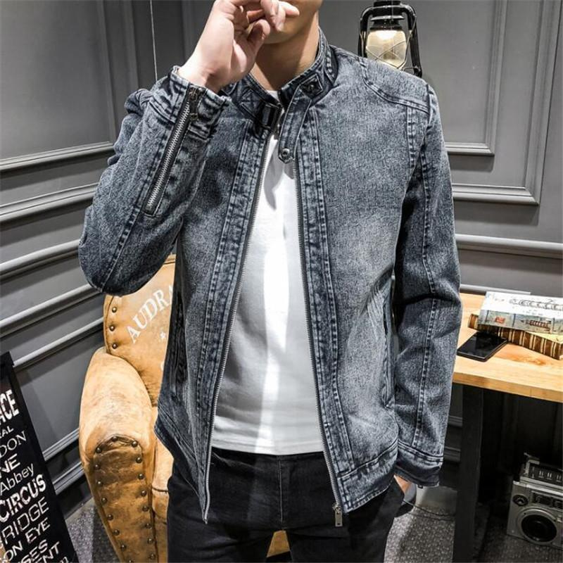 ce0a43dc859 Denim Jacket Men 2019 Spring New Fashion Retro Classic Jeans Jacket Coat  Male Slim Fit Casual Coats Outwear And Coats 3XL Black Leather Jacket Down  Jacket ...