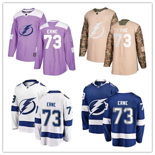 3650b3beaa1 ... australia 2019 tampa bay lightning jerseys 73 adam erne jersey hockey  men women youth white royal