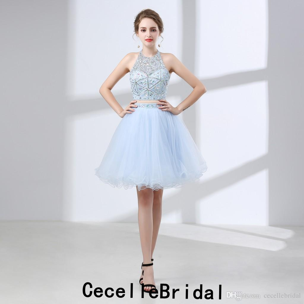 3407c9b5f74 Light Sky Blue Tulle Short Cocktail Party Dresses Halter Beaded Top A Line  Skirt Teens Girls Informal Prom Party Dress Real Photos Express Cocktail  Dresses ...