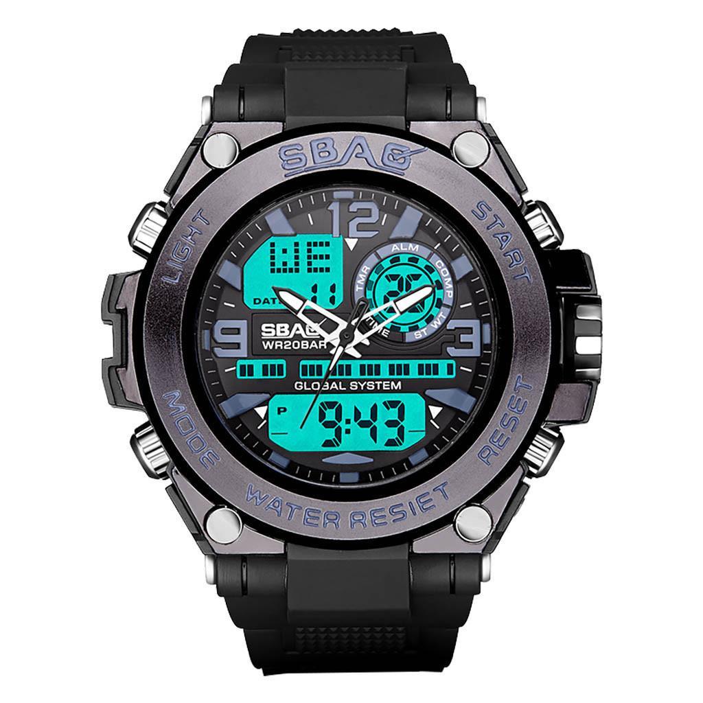 Prueba De A Agua Para Hombres Grande Reloj Dial Fuerzas Especiales Deportivos Sbao Relojes Redonda Digital Multifunción Pantalla edCrWxBo