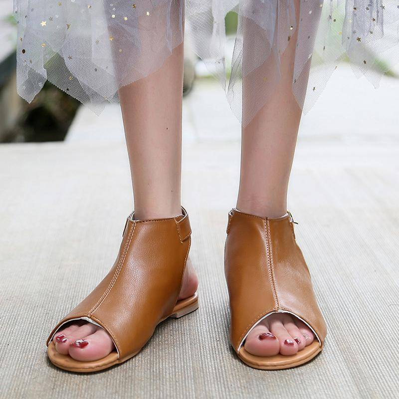 Summer Sandals Women Plus Size Flats Female Casual Peep Toe Shoes Pu Leather Slip On Ankle Buckle Leisure Sweet Shoes Women